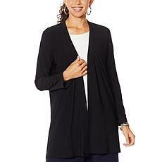Nina Leonard Matte Jersey Cardigan with Button Back Tab