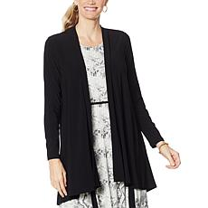 Nina Leonard Matte Jersey Cardigan with Ring Detail
