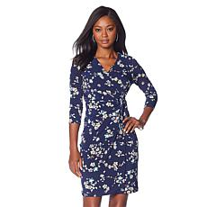 Nina Leonard Miracle Matte Jersey Faux-Wrap Dress with Ring