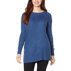 Nina Leonard Mixed Ribbed Boxy Sweater