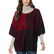Nina Leonard Oversized Colorblock Sweater Top