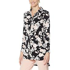 Nina Leonard Printed Matte Jersey Button-Down Tunic