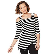 Nina Leonard Striped Cold-Shoulder Top