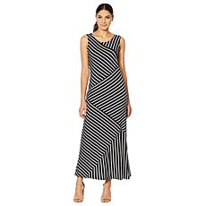 Nina Leonard Striped Maxi Tank Dress