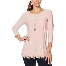 Nina Leonard Tunic with Crochet Trim