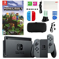 Nintendo Switch in Gray with Minecraft and Accessories Kit