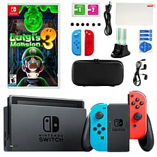 Nintendo Switch in Neon with Luigi's Mansion and Accessories Kit