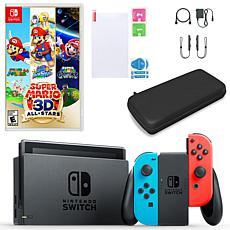 Nintendo Switch in Neon with Super Mario 3D All Stars and Accessories