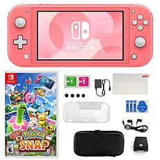 Nintendo Switch Lite in Coral with New Pokémon Snap & Accessories Kit