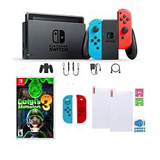 Nintendo Switch Neon With Luigi's Mansion Game and Accessories