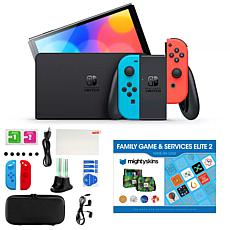 Nintendo Switch OLED in Neon with Accessory Kit and Voucher