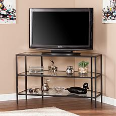 Noel Metal/Glass Corner-Optional TV Stand - Black