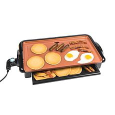 Nostalgia Nonstick Copper Griddle with Warming Drawer