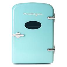 Nostalgia Retro 6-Can Cooling and Heating Refrigerator in Aqua