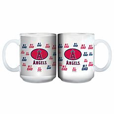 "Officially Licensed MLB ""#1 Dad"" 15 oz. White Mug - Angels"
