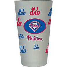 """Officially Licensed MLB """"#1 Dad"""" Frosted Pint Glass - Phillies"""