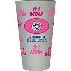 """Officially Licensed MLB """"#1 Mom"""" Frosted Pint Glass - Blue Jays"""