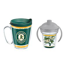 Officially Licensed MLB 16oz. Coffee Mug and 6oz. Sippy Cup- Athletics