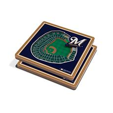 Officially Licensed MLB 3D StadiumViews Coaster Set- Milwaukee Brewers