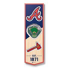 """Officially Licensed MLB 6"""" x 19"""" 3-D Stadium Banner - Atlanta Braves"""