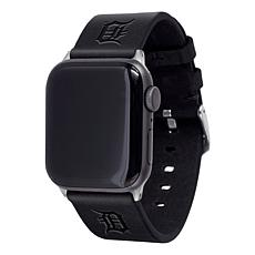 Officially Licensed MLB Apple Watch Black Leather Band 42/44mm-Detroit