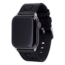 Officially Licensed MLB Apple Watch Blk Leather Band 38/40mm-Cleveland