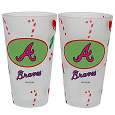 Officially Licensed MLB Christmas Day 16 oz. Pint Glass 2pk - Braves