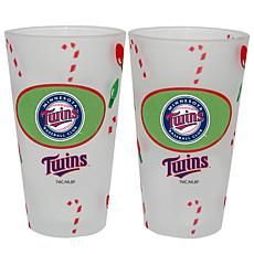 Officially Licensed MLB Christmas Day 16 oz. Pint Glass 2pk - Twins