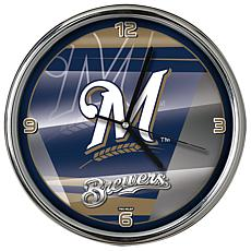 Officially Licensed MLB Shadow Chrome Clock - Brewers