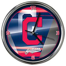 Officially Licensed MLB Shadow Chrome Clock - Indians