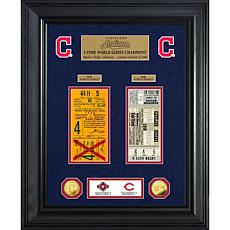 Officially Licensed MLB WS Gold Coin & Ticket Collection - Cleveland
