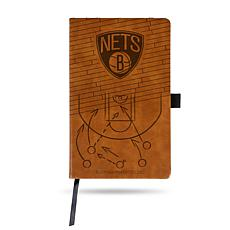 Officially Licensed NBA Engraved Brown Notebook - Brooklyn Nets