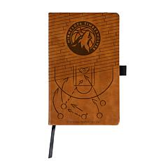 Officially Licensed NBA Engraved Brown Notebook-Minnesota Timberwolves