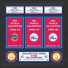 Officially Licensed NBA Phila. 76ers Banner Bronze Coin Photo Mint