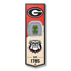 "Officially Licensed NCAA 6"" x 19"" 3D Stadium Banner - Georgia Bulldogs"