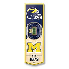 """Officially Licensed NCAA 6"""" x 19"""" 3D Stadium Banner - Wolverines"""