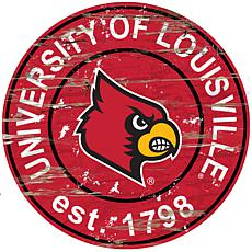 Officially Licensed NCAA  Distressed Round Sign - Louisville