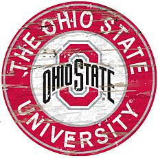 Officially Licensed NCAA  Distressed Round Sign - Ohio State Un.