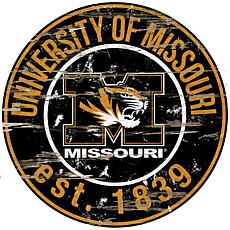 Officially Licensed NCAA  Distressed Round Sign - Un. of Missouri