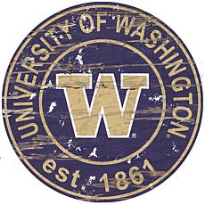 Officially Licensed NCAA  Distressed Round Sign - Un. of Washington