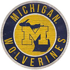 """Officially Licensed NCAA Michigan 12"""" Wood Circle"""