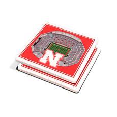 Officially Licensed NCAA Nebraska Huskers 3-D StadiumViews Coaster Set