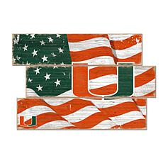 Officially Licensed NCAA University of Miami Three Plank Flag