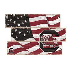 Officially Licensed NCAA University of South Carolina Flag Three Plank