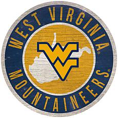 """Officially Licensed NCAA West Virginia 12"""" Wood Circle"""