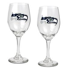 Officially Licensed NFL 2-piece Wine Glass Set-Seahawks