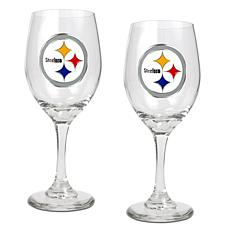 Officially Licensed NFL 2-piece Wine Glass Set-Steelers