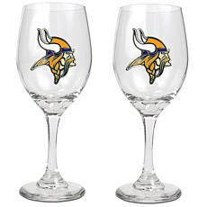 Officially Licensed NFL 2-piece Wine Glass Set-Vikings