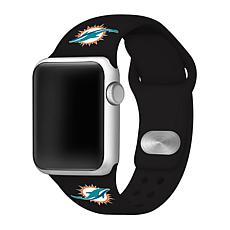 Officially Licensed NFL 42/44mm Black Apple Watch Band- Miami Dolph...