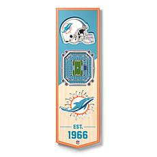 """Officially Licensed NFL 6"""" x 19"""" 3-D Stadium Banner - Miami Dolphins"""